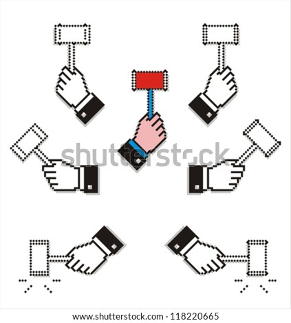 Set of pixel hands with auction hammers. Easy to customize colors. - stock vector