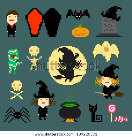Set of pixel icons on halloween theme, vector - stock vector