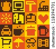 Set of pixel objects. Vector pattern - stock vector
