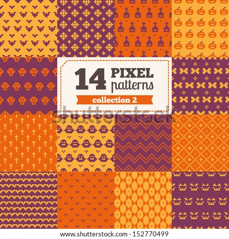 Set of pixel patterns - Halloween All patterns were added in Swatches palette - stock vector