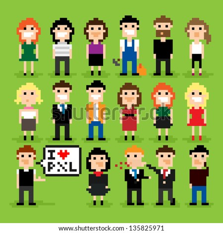 Set of pixel people icons, vector illustration - stock vector