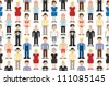 Set of pixel people. Vector illustration. - stock vector