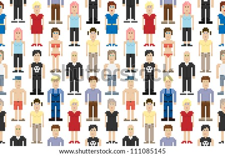 Set of pixel people. Vector illustration. - stock vector
