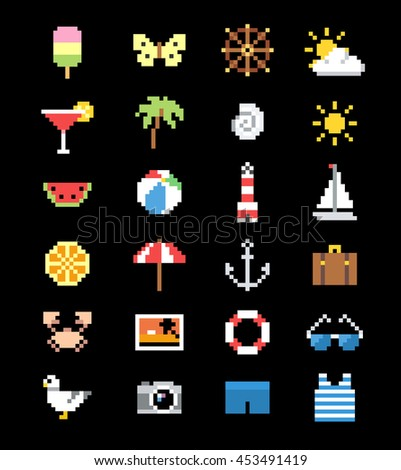 Set of pixel summer rest icons