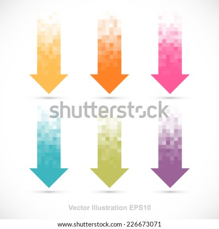 Set of pixelated arrows. - stock vector