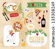 set of Pizza design elements - stock vector