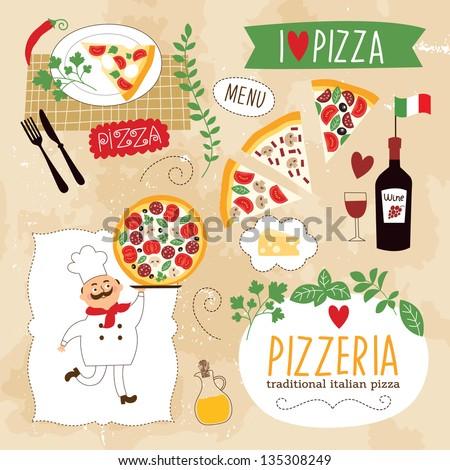 set of Pizza design elements - stock vector