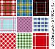 Set of plaid patterns - stock vector