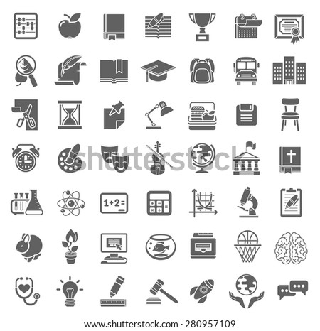Set of plain monochrome silhouette vector icons of school subjects, education and science symbols - stock vector