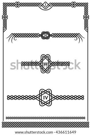 Set of plait patterns and knots for use as frame, header or footer graphic design elements on pages. Black and white vector artwork.