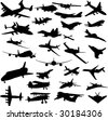 Set of planes silhouettes - stock photo