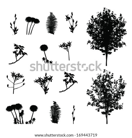 Set of Plant, Tree, Foliage Elements Silhouette Vector Illustration