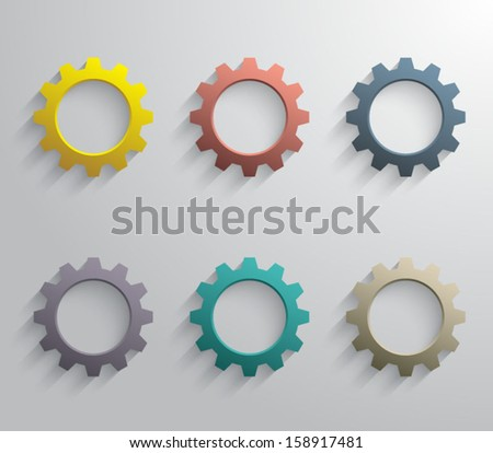 Set of plastic gears / cogwheels for websites (UI) or business design banners. Clean and modern style