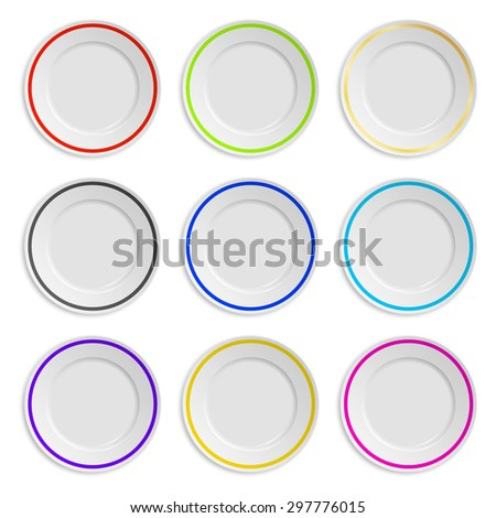 Set of plates with colored stripe isolated on white. Vector EPS10 illustration.  - stock vector