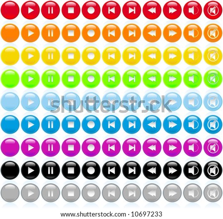 Set of playback controls with glossy buttons - stock vector