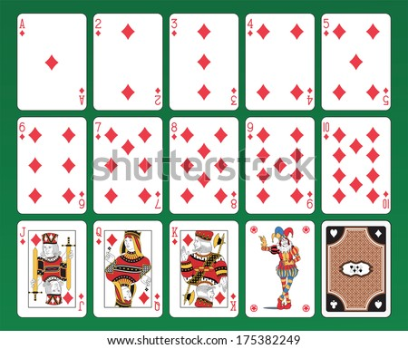 Set of playing cards of Diamonds on green background. The figures are original design as well as the jolly, the ace of spades and the back card.  - stock vector