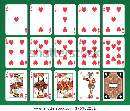 Set of playing cards of Hearts on green background. The figures are original design as well as the jolly, the ace of spades and the back card.  - stock vector
