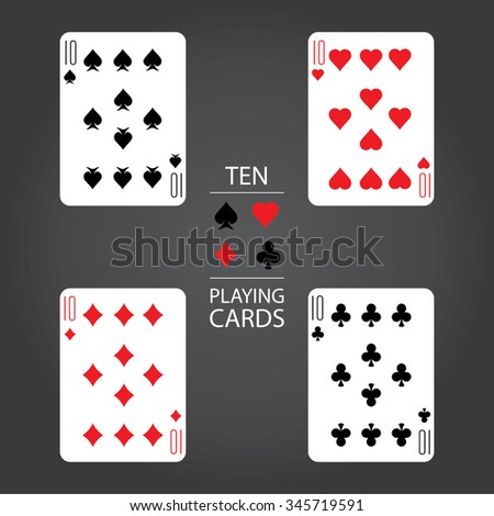 Set of playing cards vector: Ten