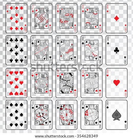 Set of playing cards vector: Ten, Jack, Queen, King, Ace