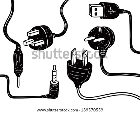 set of plug in socket in doodle style - stock vector