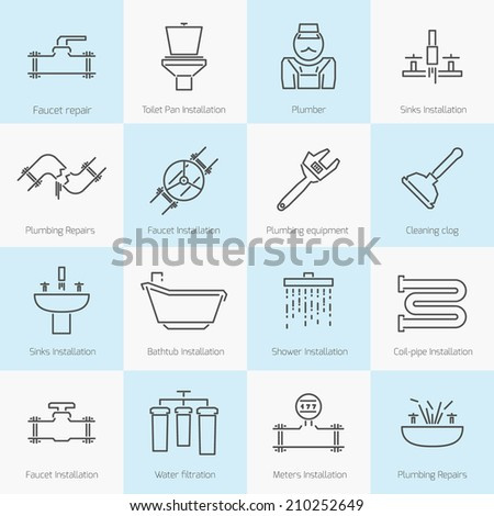 set of plumbing toilet shower pipe bathroom flat line icons set - stock vector