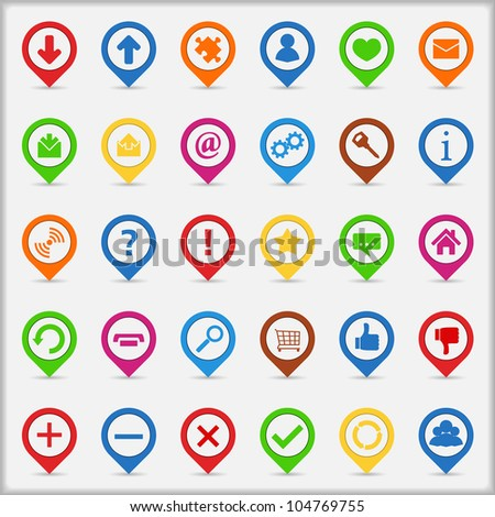 Set of pointers with icons, vector eps10 illustration - stock vector