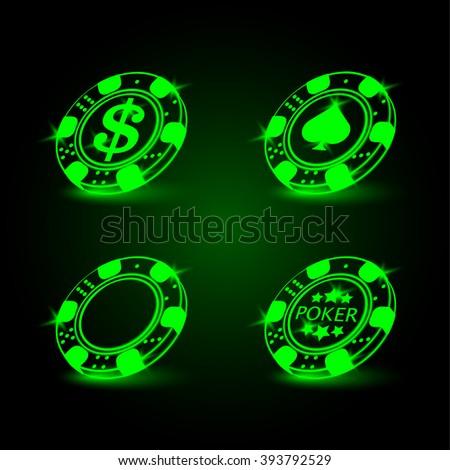 Set of poker chip. Neon vector illustration. - stock vector