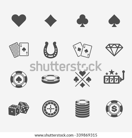 Set of poker club and gambling casino black icons - stock vector