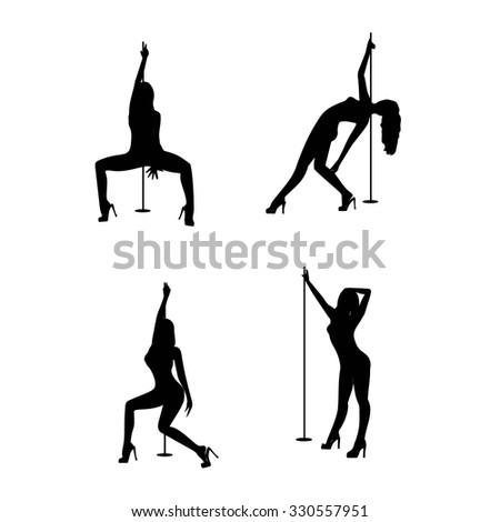 Set of Pole dancers, sexy women's silhouettes. Black silhouettes of dancing girls striptease. Isolated on white background -vector illustration.