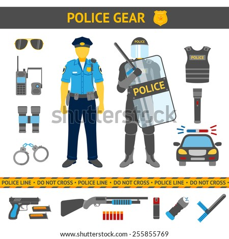 Set of Police icons - gear, car, weapons and two policemen in daily uniform and in riot gear. Vector - stock vector