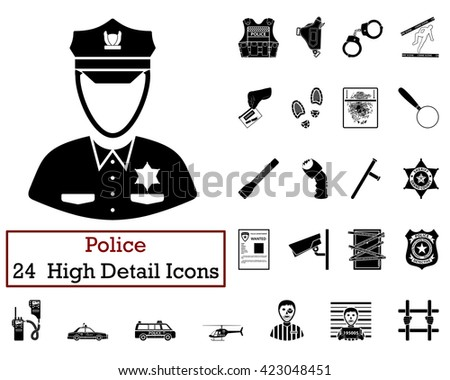 Set of 24 Police Icons in Black Color.Vector illustration.  - stock vector