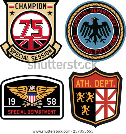 Set of police medal badges and patches - stock vector