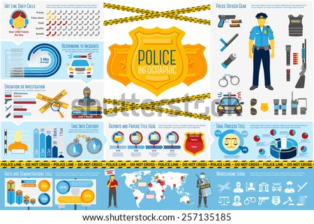 Set of Police work Infographic elements with icons, different charts, rates etc. With places for your text. Vector - stock vector