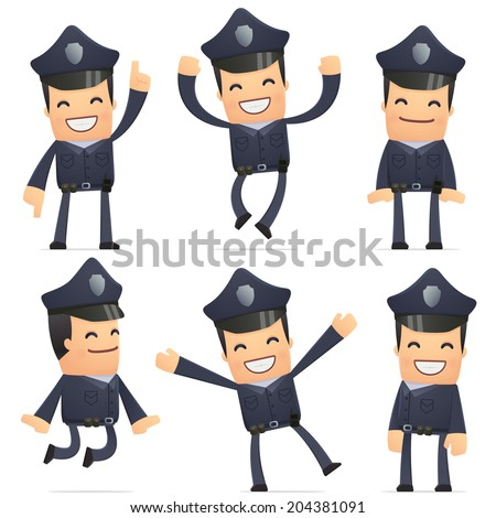 set of policeman character in different interactive  poses - stock vector