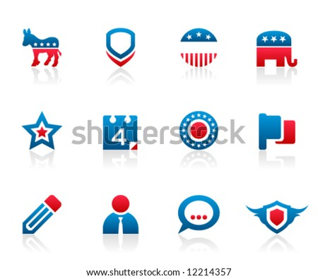 Set of 12 political election campaign icons and graphics - stock vector