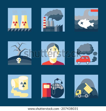 Set of pollution damage environment radioactive icons in flat style on squares vector illustration - stock vector