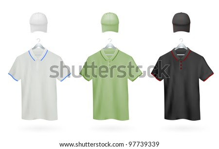 Set of Polo shirts and baseball caps templates for men. - stock vector