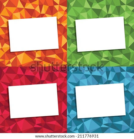 set of polygon backgrounds with blank cards for your text, 4 variations - stock vector