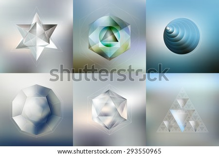 Set of Polygon patterns with the reflection, minimalistic geometric facet crystal logos on blurred background, vector illustration. - stock vector