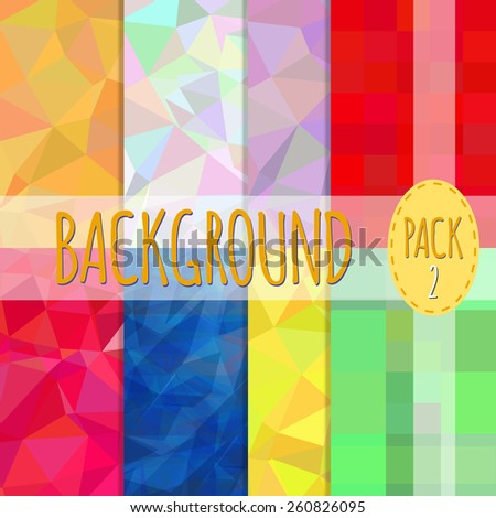 Set of polygonal backgrounds. 8 various backgrounds. Easy to resize and recolor. Vector illustration - stock vector