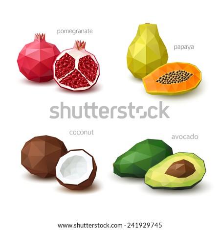 Set of polygonal fruit - pomegranate, papaya, coconut, avocado. Vector illustration