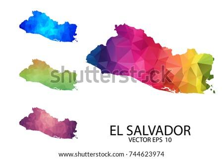 Set Polygonal Map Blank On White Stock Vector 744623974 - Shutterstock