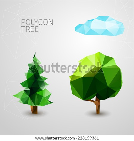 Set of polygons trees. Spruce, cloud . Vector illustration - stock vector
