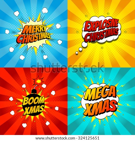 Set of pop art comic Christmas vector illustration. Decorative set of backgrounds for Christmas with bomb explosive. - stock vector