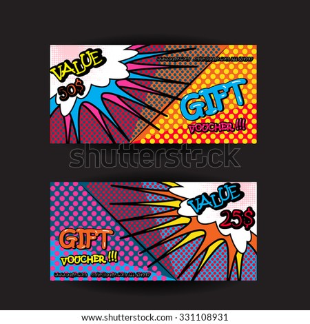 Set pop art gift cards coupon stock vector 331108931 shutterstock set of pop art gift cards coupon voucher certificate template with speech bubble and comic letters yadclub Image collections