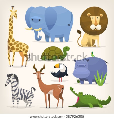 Set of popular colorful vector tropical animals and birds - stock vector