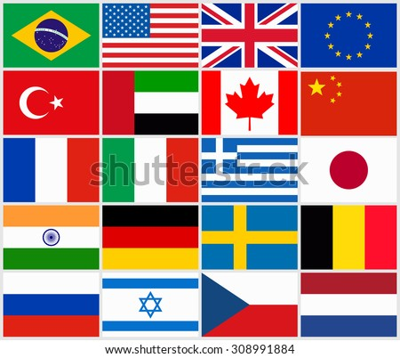 set popular country flags stock vector royalty free 308991884