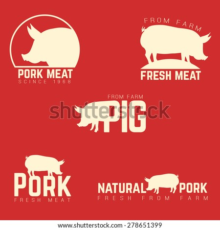 Set of pork emblems, logotypes and labels isolated white on red background. Vector illustration