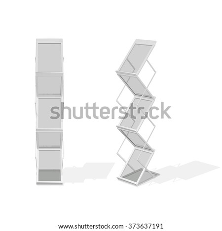 Set of portable folding advertising stand with shelves for printed materials, magazine, or newspaper, in gray color, isolated on white background. - stock vector