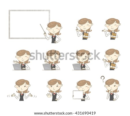 Set of poses and emotions, office clark in uniform - stock vector